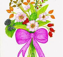 Wild Flowers & Wild Berrys With Pink Bow by ptmart