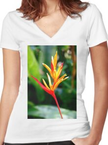 Tropical Flower Women's Fitted V-Neck T-Shirt