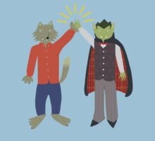 Vampire and Werewolf High Five Kids Tee