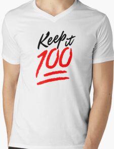 Keep it 100! Mens V-Neck T-Shirt