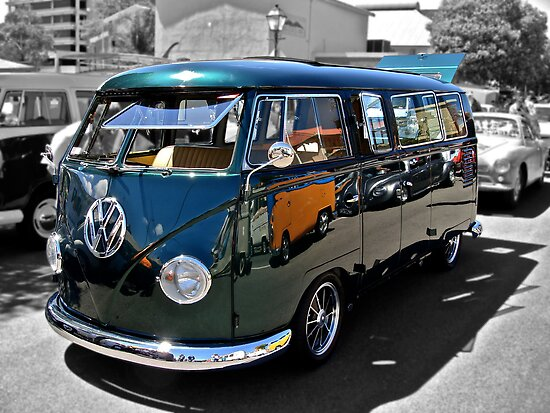 green volkswagen kombi van by ferenghi redbubble. Black Bedroom Furniture Sets. Home Design Ideas