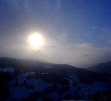 The Sun Eclipse Behind the Cloud: Vercors Sunset by Neil Austin