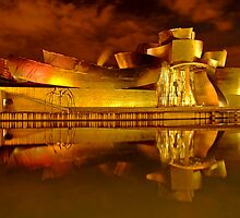Bilbao Guggenheim Reflections - Nervion river, Spain by DavidGutierrez
