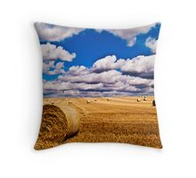 Hay Bales with cloudy sky Throw Pillow