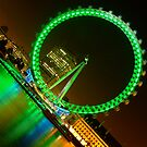London Eye in Green at Night by DavidGutierrez
