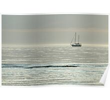 Lone yacht on a calm Gulf of Mexico Poster