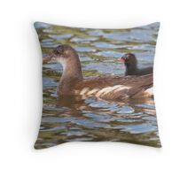 Birds on Bright Water: Juvenile Moorhen and Chick Throw Pillow