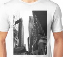 Street View of Tall Buildings, Black and White Unisex T-Shirt
