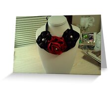 Handmade Satin Flower Statement Necklace Greeting Card