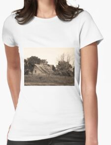 Rustic Barn and Old Tree, Sepia T-Shirt
