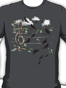 Musical Note Birds - black T-Shirt