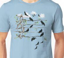 Musical Note Birds - black Unisex T-Shirt