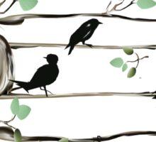 Musical Note Birds - black Sticker