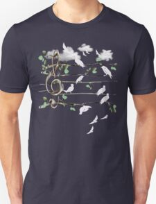 Musical Note Birds - white Unisex T-Shirt