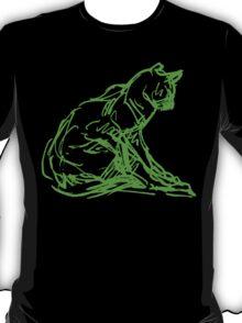 Fluorescent Cat Outline on Black / Dark T shirt  T-Shirt