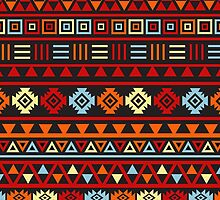 Aztec Influence Ptn IV Orange Red Blue Black Yellow by NataliePaskell