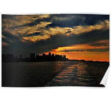 City Skyline Silhouettes Poster