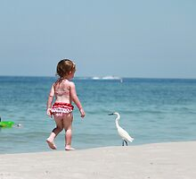 Little girl trying to pet a Snowy White Egret Bird  by Missy Yoder