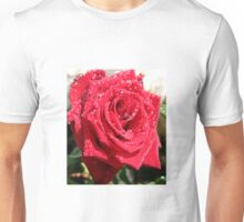 Red Rose with Raindrops Unisex T-Shirt