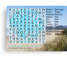 Beach Word Search Puzzle with a message. Canvas Print