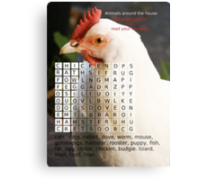 Animals around the house. Word Search Puzzle with a message. Metal Print