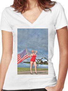 Yankee Girl 4 Women's Fitted V-Neck T-Shirt