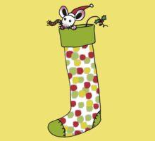 Adorable Christmas gift sock with Santa mouse Kids Tee