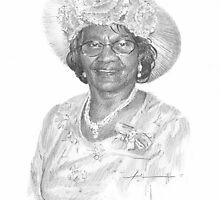 grandmother in a Sunday hat drawing by Mike Theuer
