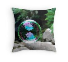 Reflection Caught In A Bubble Throw Pillow
