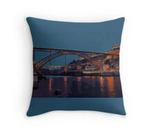Porto River Douro and Bridge in the Evening Light Throw Pillow