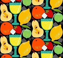 lemonade party pattern on black by oleynikka