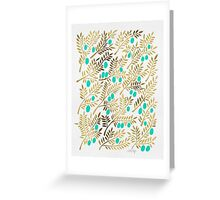 Gold & Turquoise Olive Branches Greeting Card