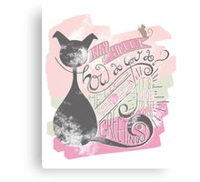 Good Day Mr Cat (Black cat Typography) Canvas Print