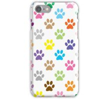 Colorful puppy paw prints iPhone Case/Skin