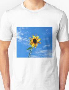 Lone Yellow Sunflower against the Summer Blue Sky T-Shirt