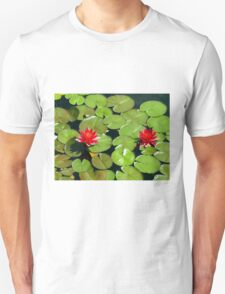 Floating pair of Red Water Lilly Flowers on Pond T-Shirt