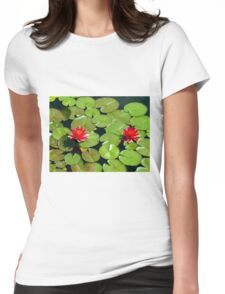 Floating pair of Red Water Lilly Flowers on Pond Womens Fitted T-Shirt