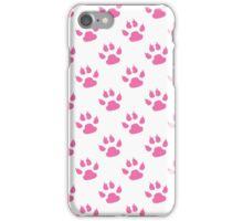 Pink kitty paw prints iPhone Case/Skin