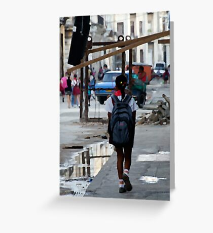On the way to school, Havana, Cuba Greeting Card