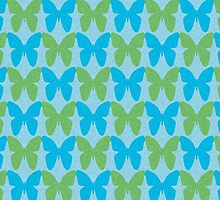 Blue and green butterflies by perlphoto