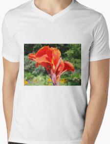 Red Canna Lilly Flower in Summer Garden Mens V-Neck T-Shirt