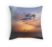 Tiki Beach Caribbean Island Sunset in Fire Orange and Purple Glowing Color Throw Pillow