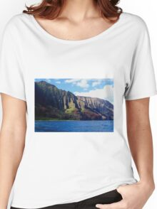 Blue Pacific and Rugged Na Pali Coastline of Kauai Hawaii Women's Relaxed Fit T-Shirt