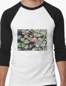 Pink Water Lilly Flower Trio floating on a Garden Pond Men's Baseball ¾ T-Shirt
