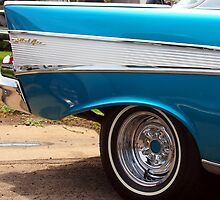 Chevrolet Blue and White Classic Bel Air Muscle Car by Amy McDaniel