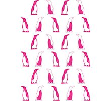 Pink Penguin Repeat Pattern Photographic Print