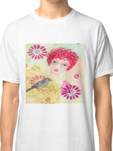 Whimsical Curly Red Head Girl Classic T-Shirt