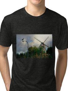Stork and Windmill - HDR Tri-blend T-Shirt