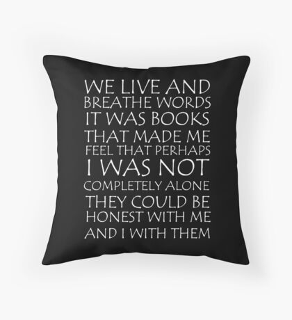 We Live and Breathe Words Throw Pillow
