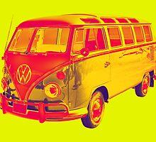 Classic VW 21 window Mini Bus Pop Art by KWJphotoart